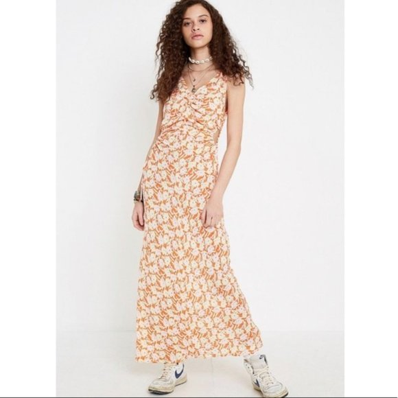UO Gala Cinched Side Cutout Maxi Dress Floral NWT